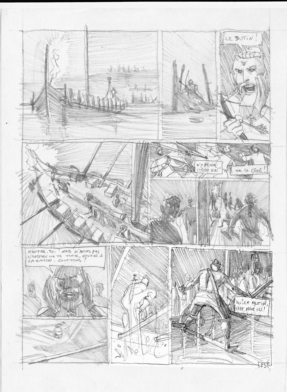 Sigurd & Vigdis, storyboard de la planche 23 © Benoît Blary