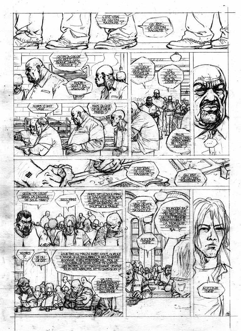 Crayonné page 9 de Soul Man ©David Chauvel / Denys