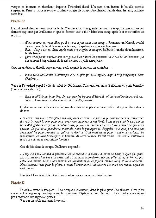 le texte rédigé par Grégory et moi-même (l'étape précédente pour nous est de réaliser ce que nous appelons un découpage scénique où nous résumons chaque scène du tome en quelques phrases tout en anotant le nombre de planches nécessaires pour le faire).