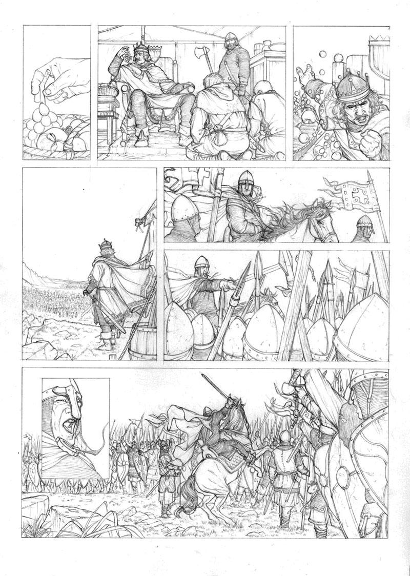 Un crayonné avancé de Jaime (qui adapte notre storyboard en y apportant les modifications graphiques qu'il juge nécessaire.). Il encre ensuite les planches.©Jaime Calderón