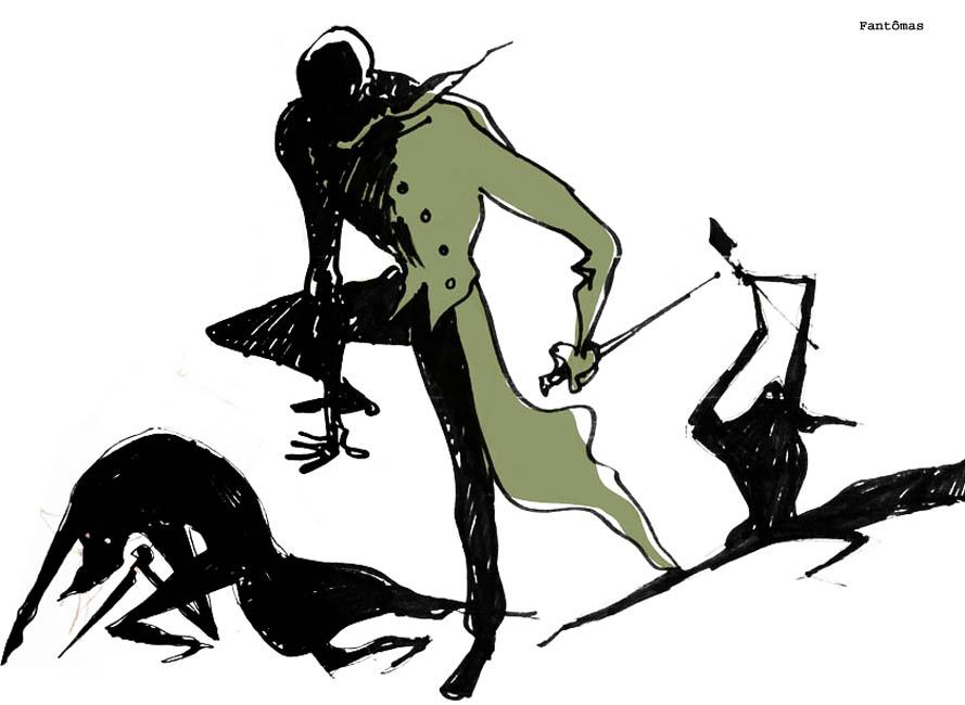 La Colère de Fantômas, crayonné et encrage de l
