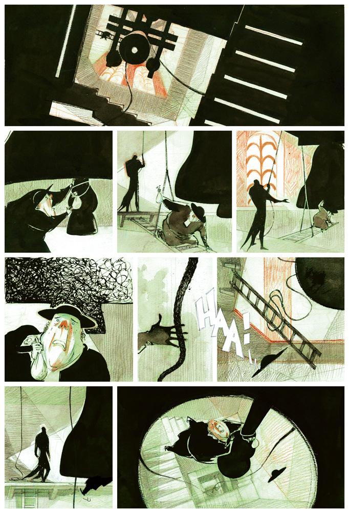 La Colère de Fantômas, crayonné de la planche 33