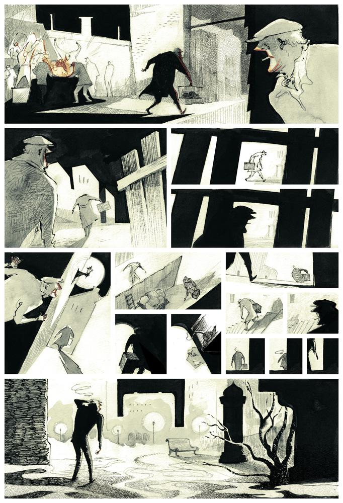 La Colère de Fantômas, crayonné de la planche 46