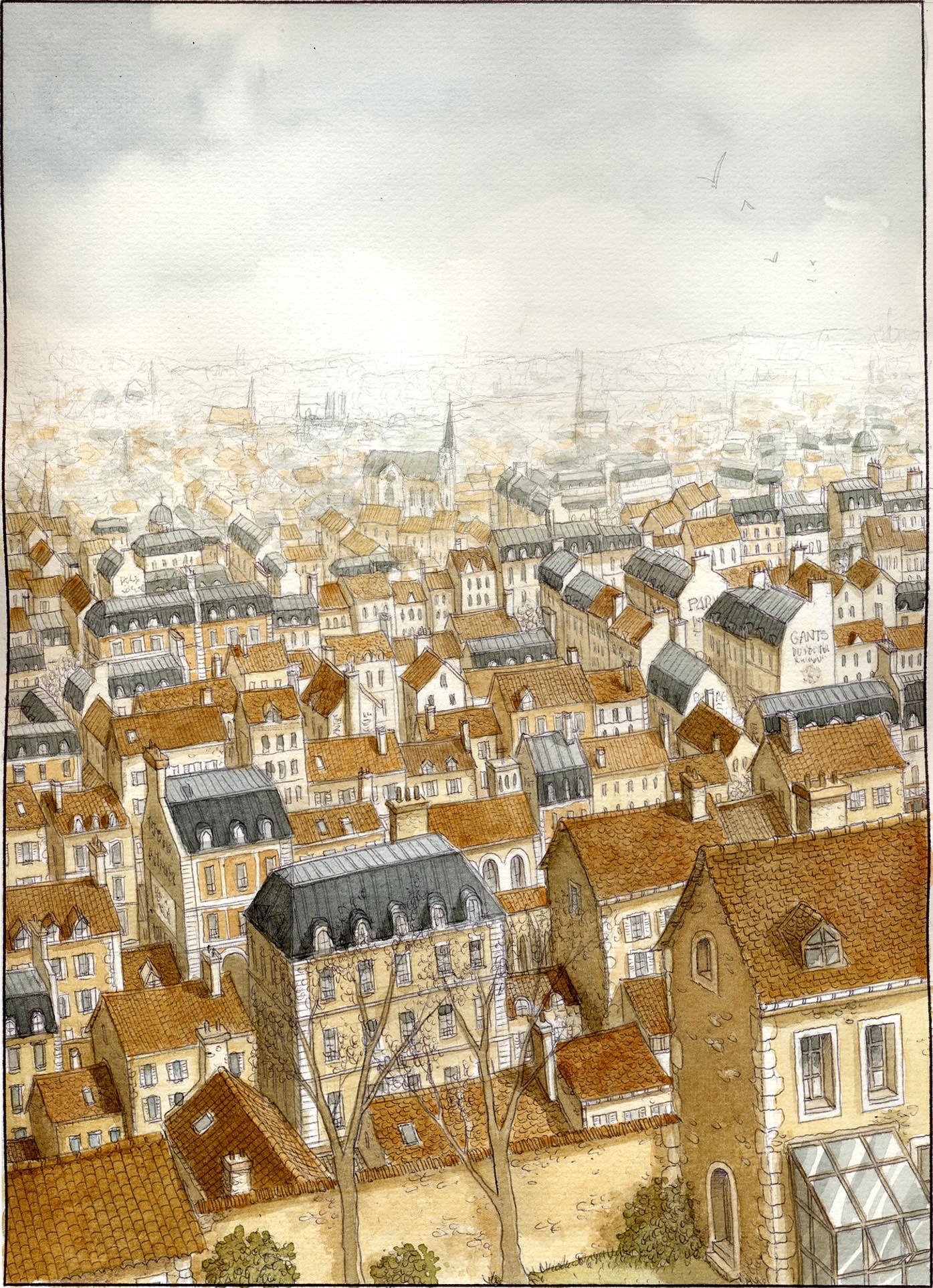 Les Damnés de Paris, encrage de la planche 15, bruns et bleu © Glénat / Jaffredo