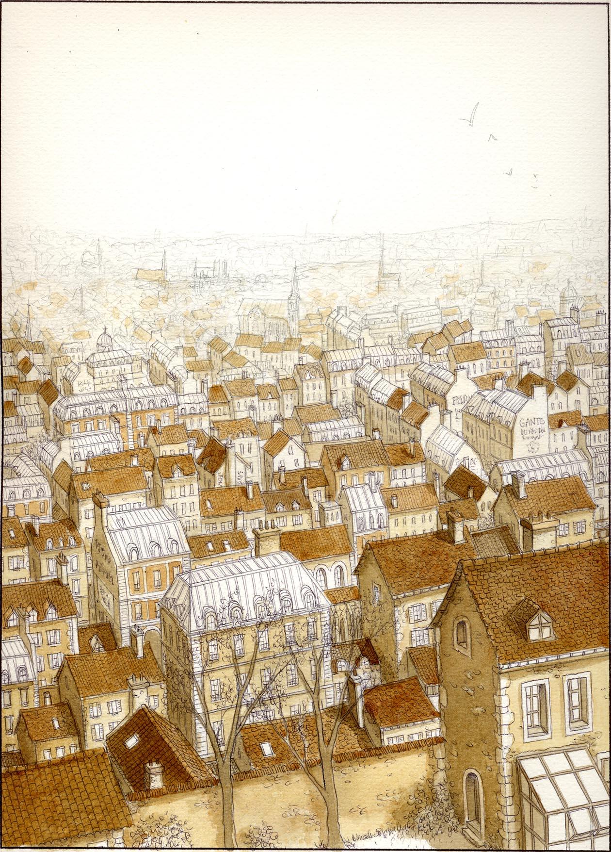 Les Damnés de Paris, encrage de la planche 15, bruns © Glénat / Jaffredo