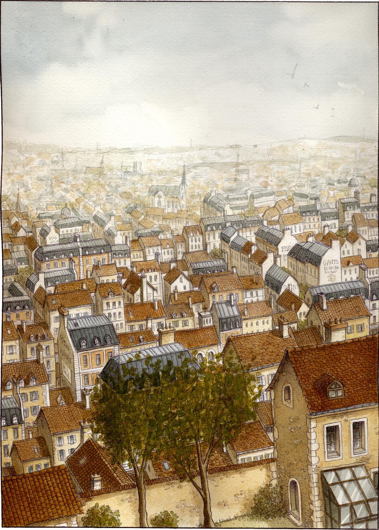 Les Damnés de Paris, encrage de la planche 15, couleurs © Glénat / Jaffredo
