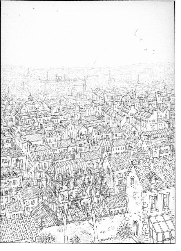 Les Damnés de Paris, encrage de la planche 15 © Glénat / Jaffredo
