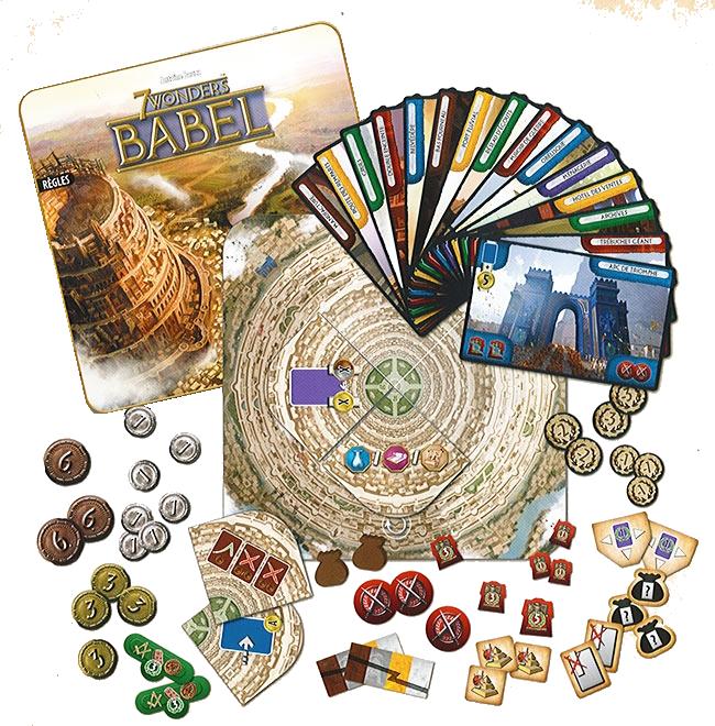 7 Wonders, Babel, apperçu du matériel © Repos Prod / Coimbra / Bauza