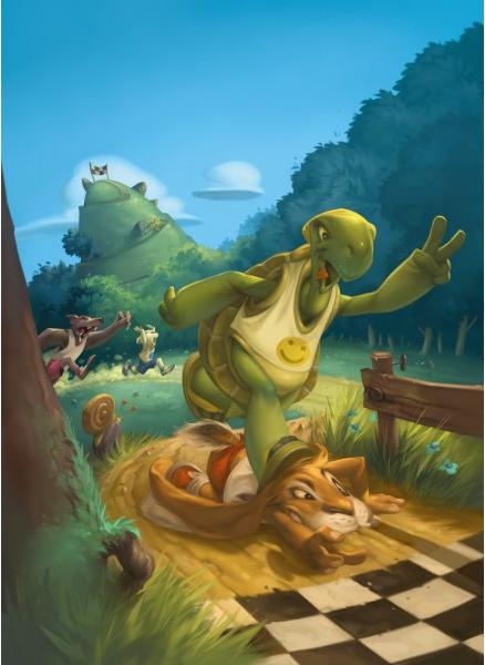 Le Lièvre et la Tortue, illustration de couverture © Purple Brain Créations / Leyssenne