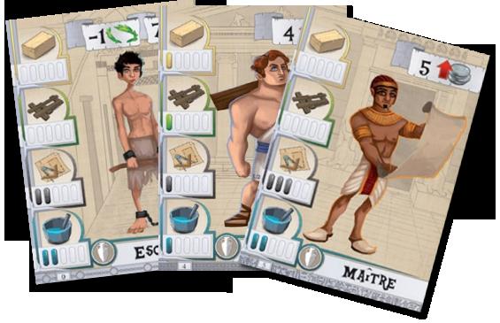 Les Bâtisseurs - Antiquité, exemple de cartes Esclave et Ouvrier © Bombyx / Miramon