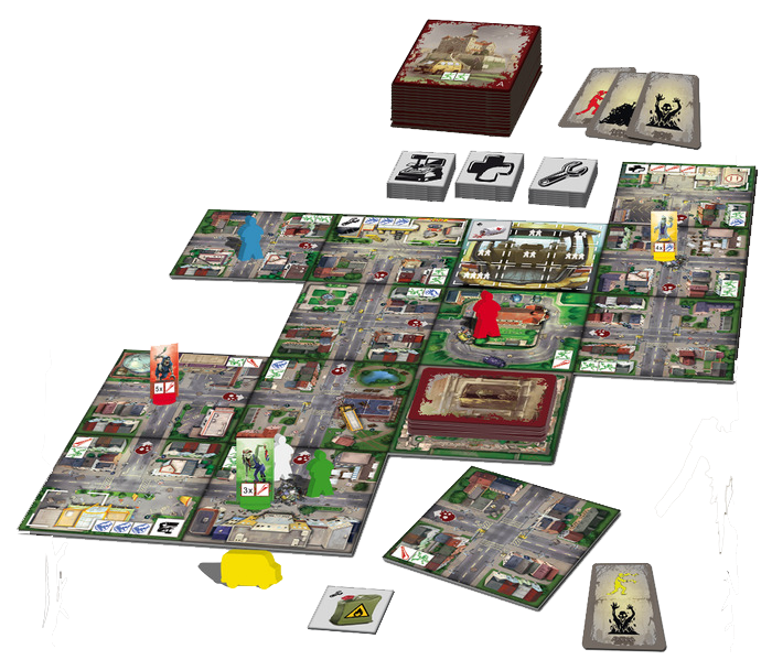 Escape: Zombie City, le matériel © Queen Games / Fiedler