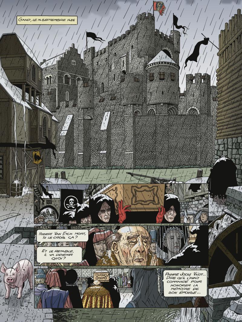 Jan Van Eyck, Le Retable de l'Agneau mystique, planche de l'album © Glénat / Hé / Joannidès