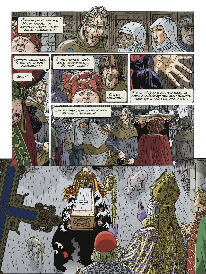 Jan Van Eyck, Le Retable de l&#39Agneau mystique, planche de l&#39album © Glénat / Hé / Joannidès