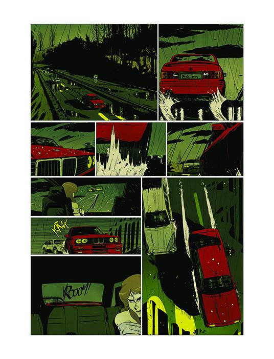 RN 83, planche du tome 1 © les Editions du Long Bec / Volpini / Linck