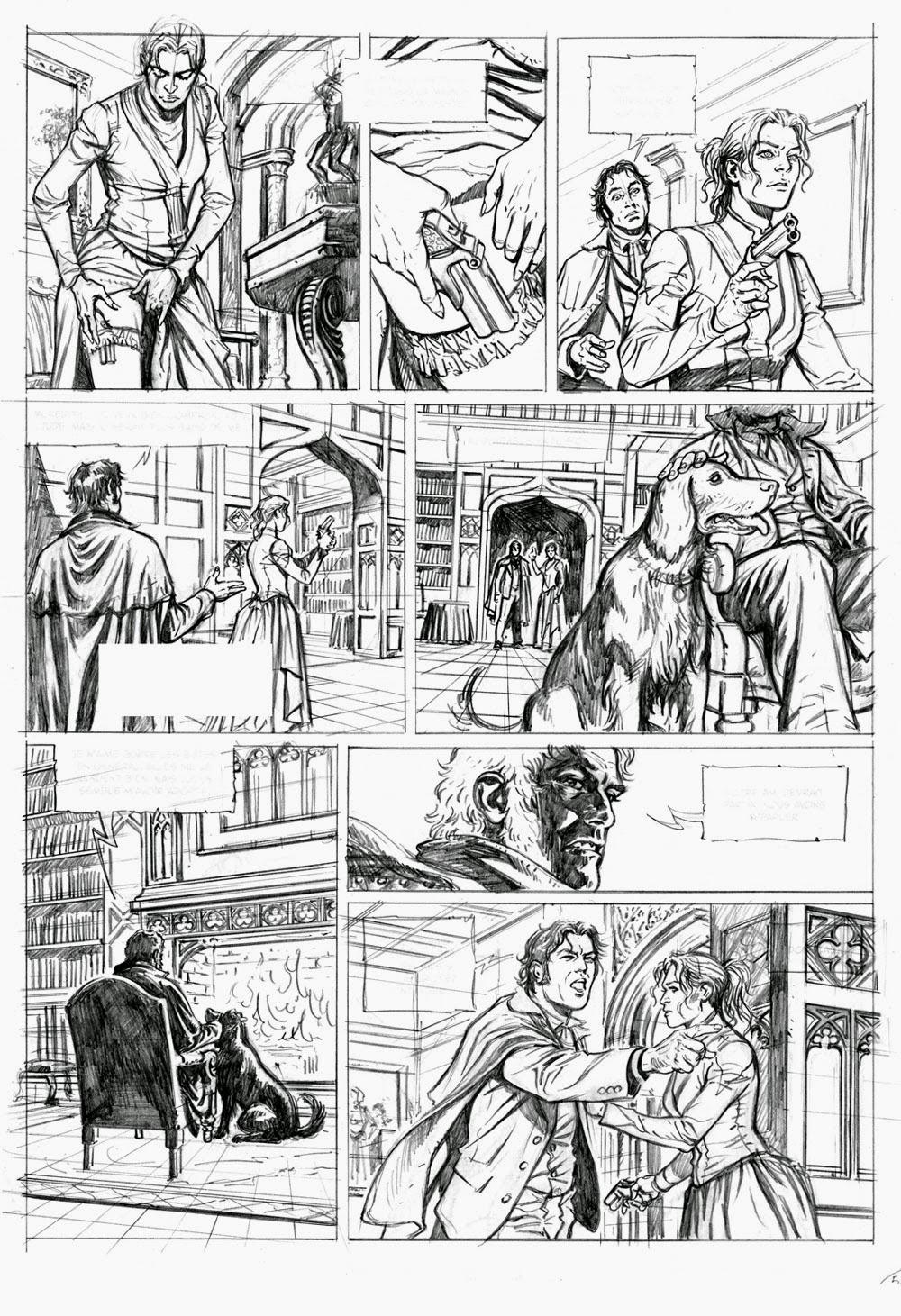 Sherlock Holmes, les Chroniques de Moriarty, crayonné d'une planche du tome 1 © Fattori