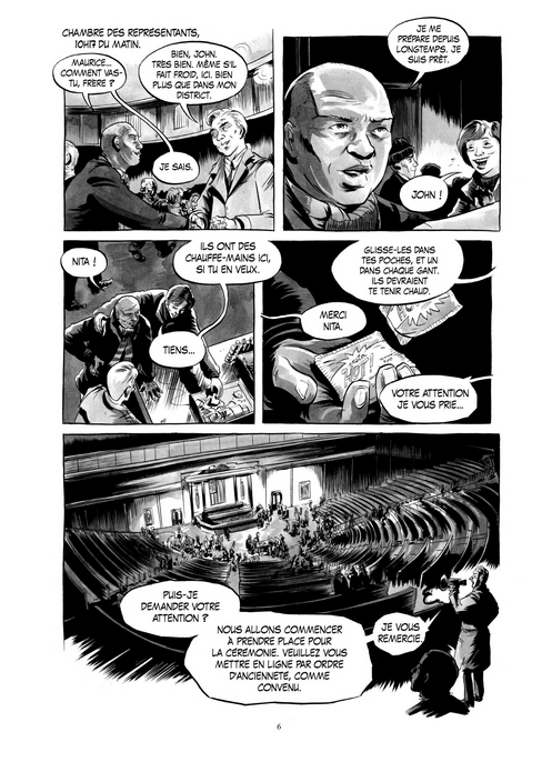 Wake Up America, planche du tome 2 © Rue de Sèvres / Powell / Aydin / Lewis