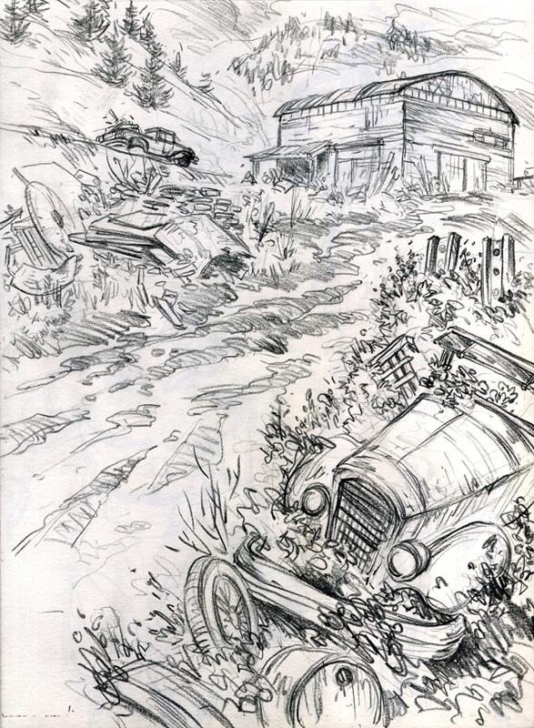 crayonné du tome 1 © Mickaël Bourgouin