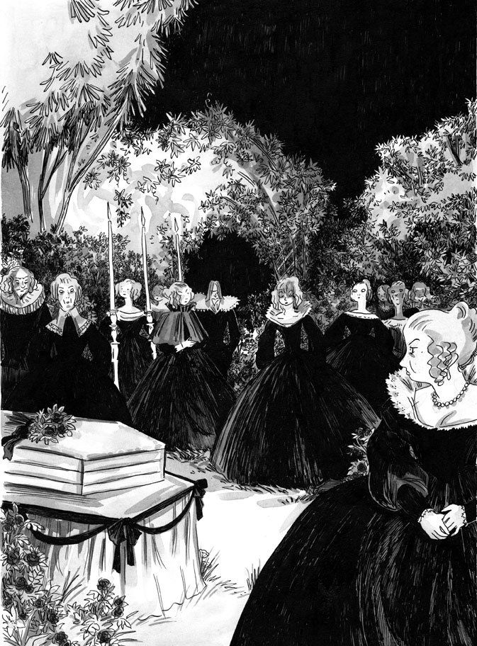 Milady en tenue de deuil