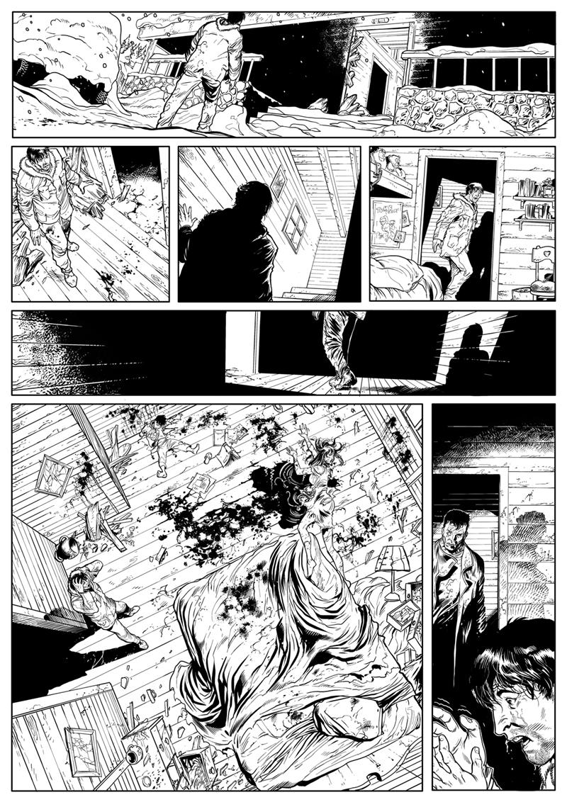 Encrage de la planche 5 du tome 2 de Nosferatu ©Soleil /  Stephano Martino / Olivier Peru