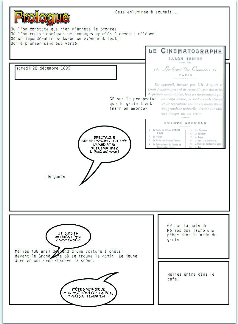 Mon découpage. Parfois, comme ici, P1, j'insère une petite doc de référence pour Julie. Quand j'ai fini mon synopsis, je détermine le nombre de pages par séquences avant de commencer le découpage, et j'essaie de m'y tenir. En général, ça revient à couper beaucoup par rapport à ce que j'avais imaginé.