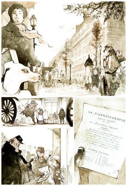 « Planche 1, noir et blanc. Le boulevard des Capucines est plus large… Et je comprends que ça risque d'être très beau…» (Olivier Bocquet)