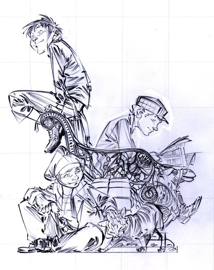 Crayonné de l'ex-libris réalisé pour la librairie Hobby Folie © David Etien