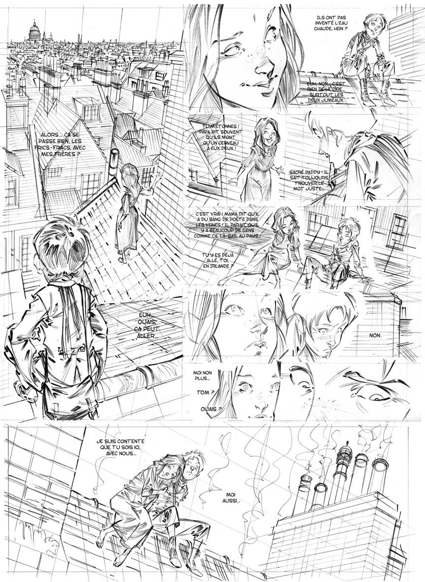 Les Quatre de Baker Street, crayonné de la planche 19 © David Etien