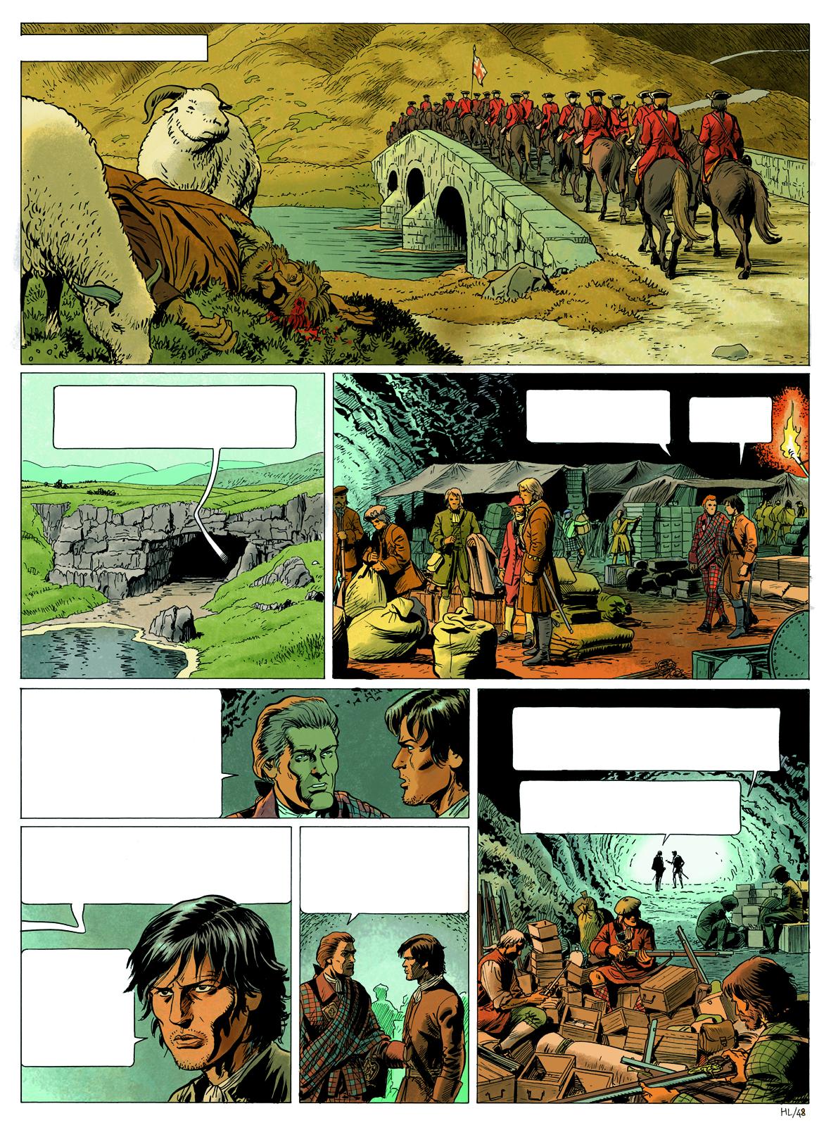 Highlands, planche 2 du tome 2, mise en couleurs © Philippe Aymond