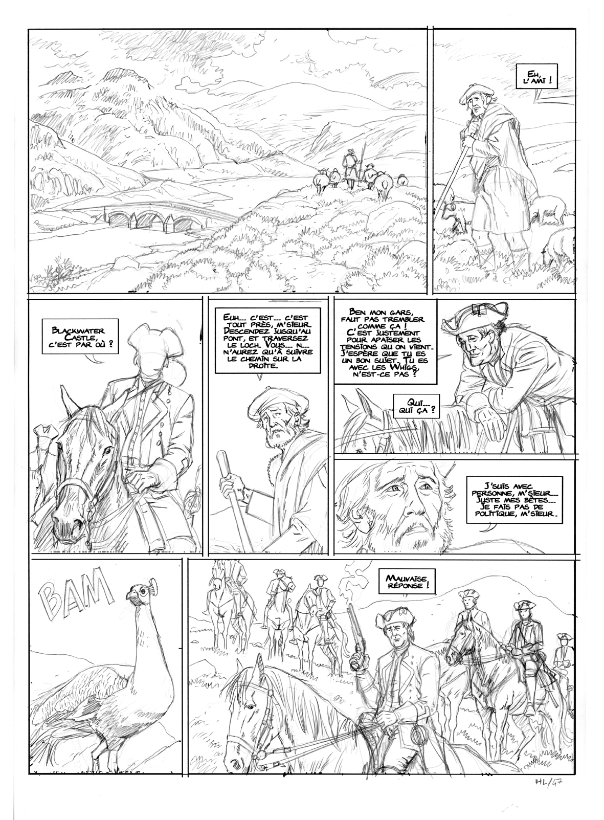 Highlands, planche 1 du tome 2, crayonné © Philippe Aymond