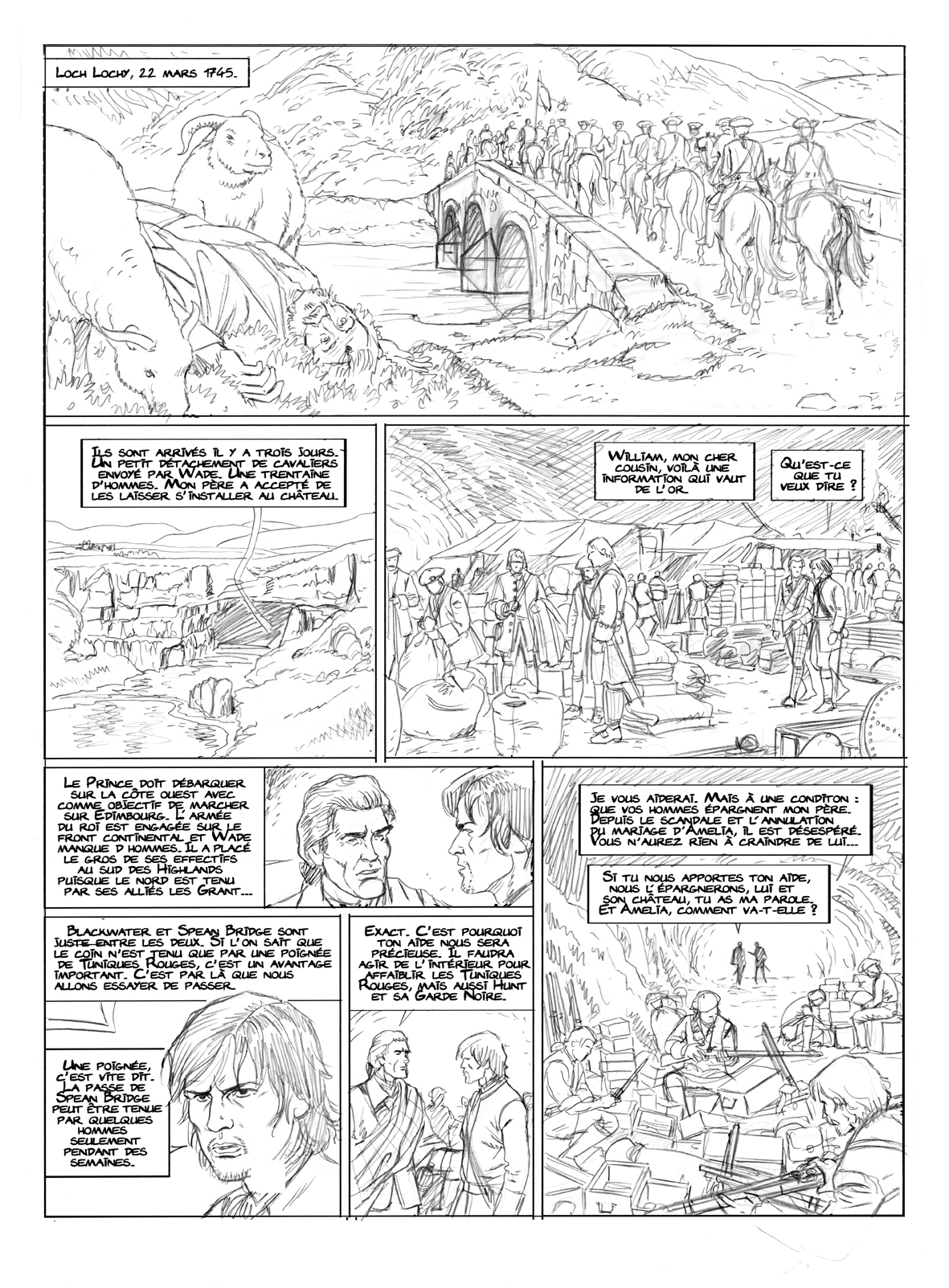 Highlands, planche 2 du tome 2, crayonné © Philippe Aymond