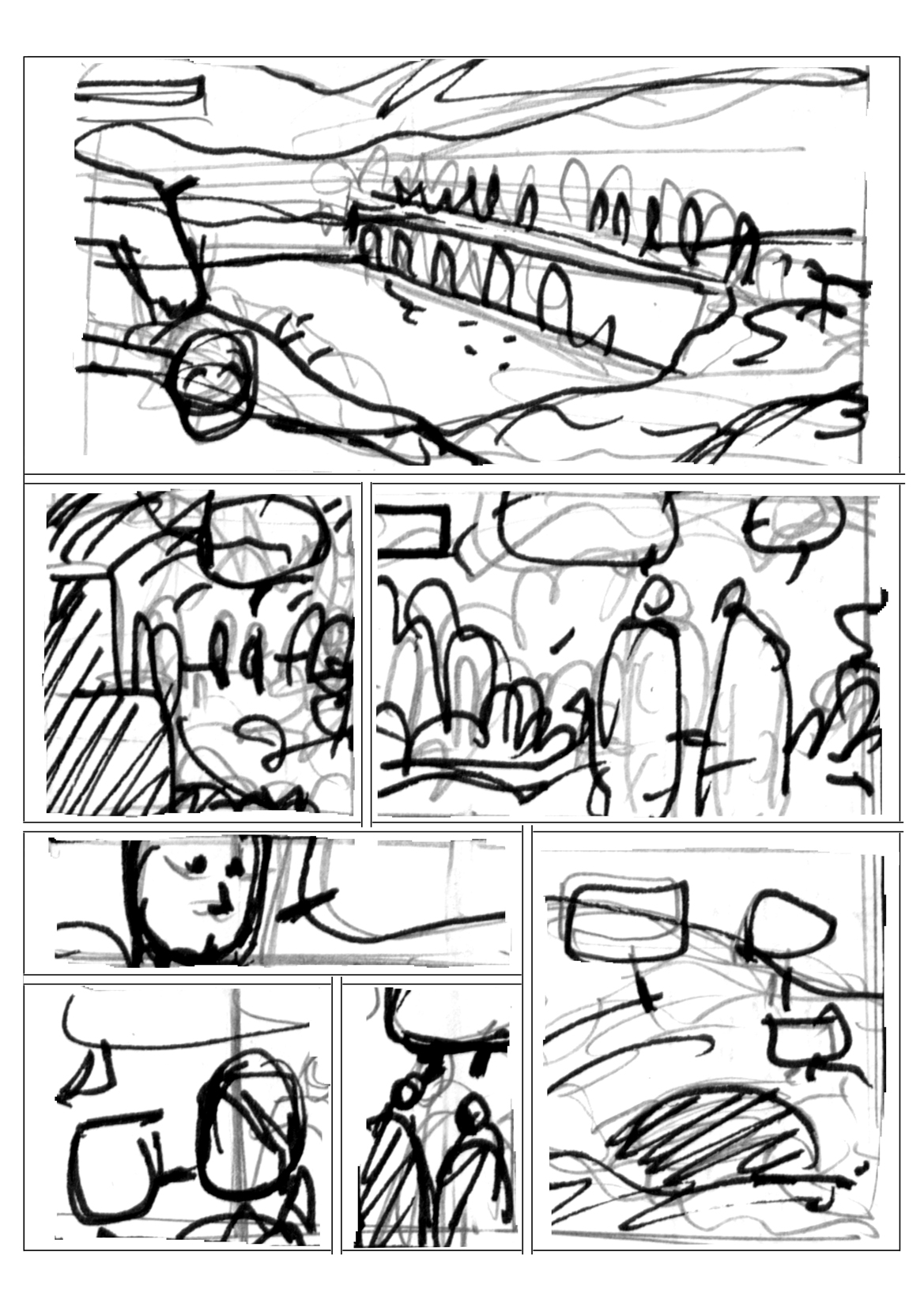 Highlands, planche 2 du tome 2, rough © Philippe Aymond