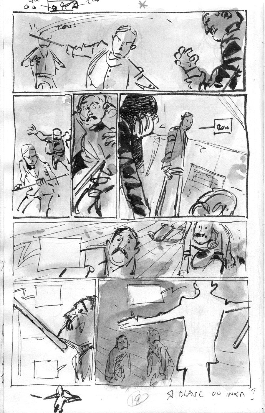 Silas Corey, story-board de la page 12 ©  Pierre Alary