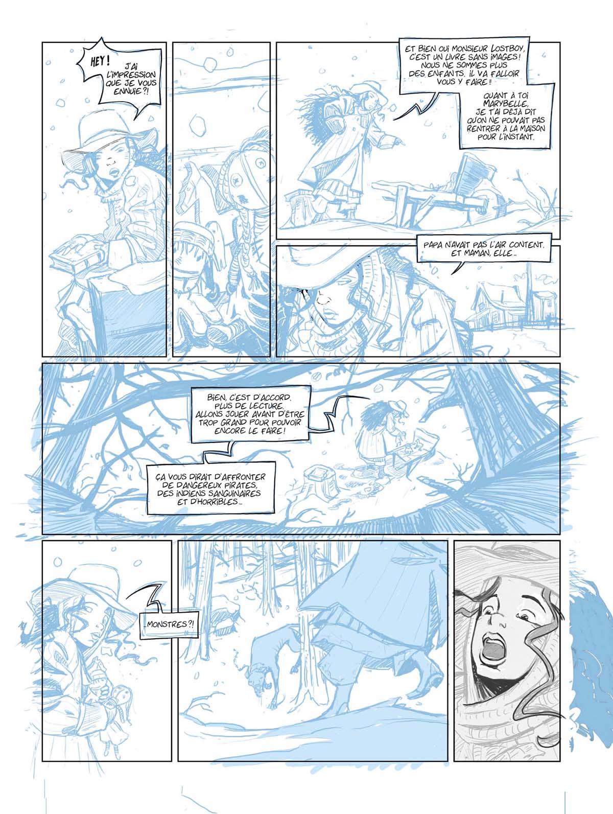 Crayonné de la planche 6 du tome 1 © Mikaël