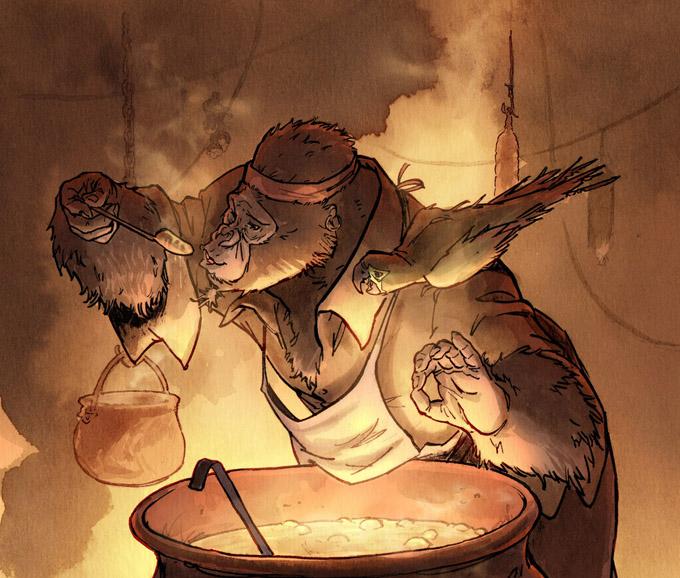 Le Testament de Flint, Long John Silver à ses fourneaux © Sébastien Vastra