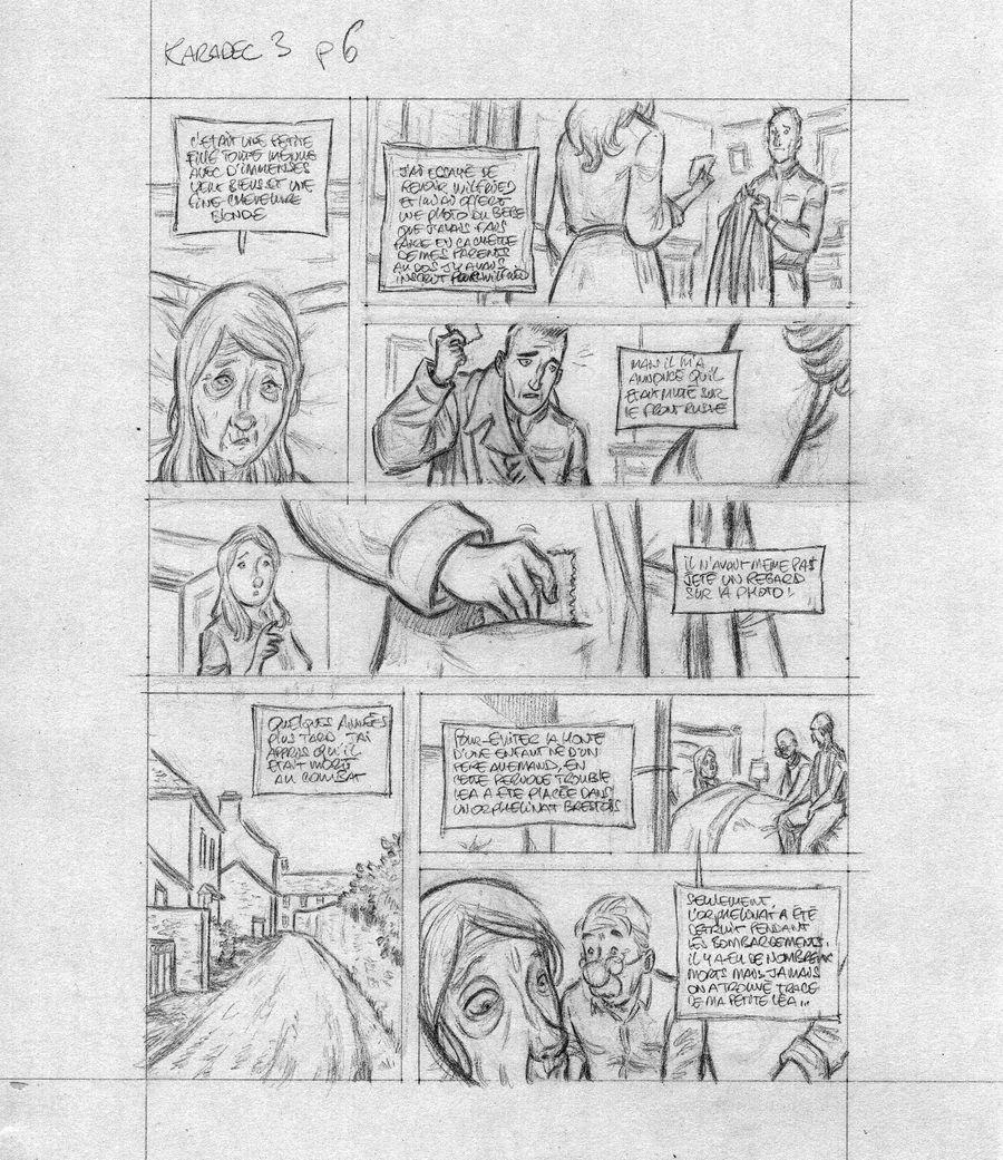 Fanch Karadec l'enquêteur Breton, rough de la planche 6 du tome 3© Stéphane Heurteau