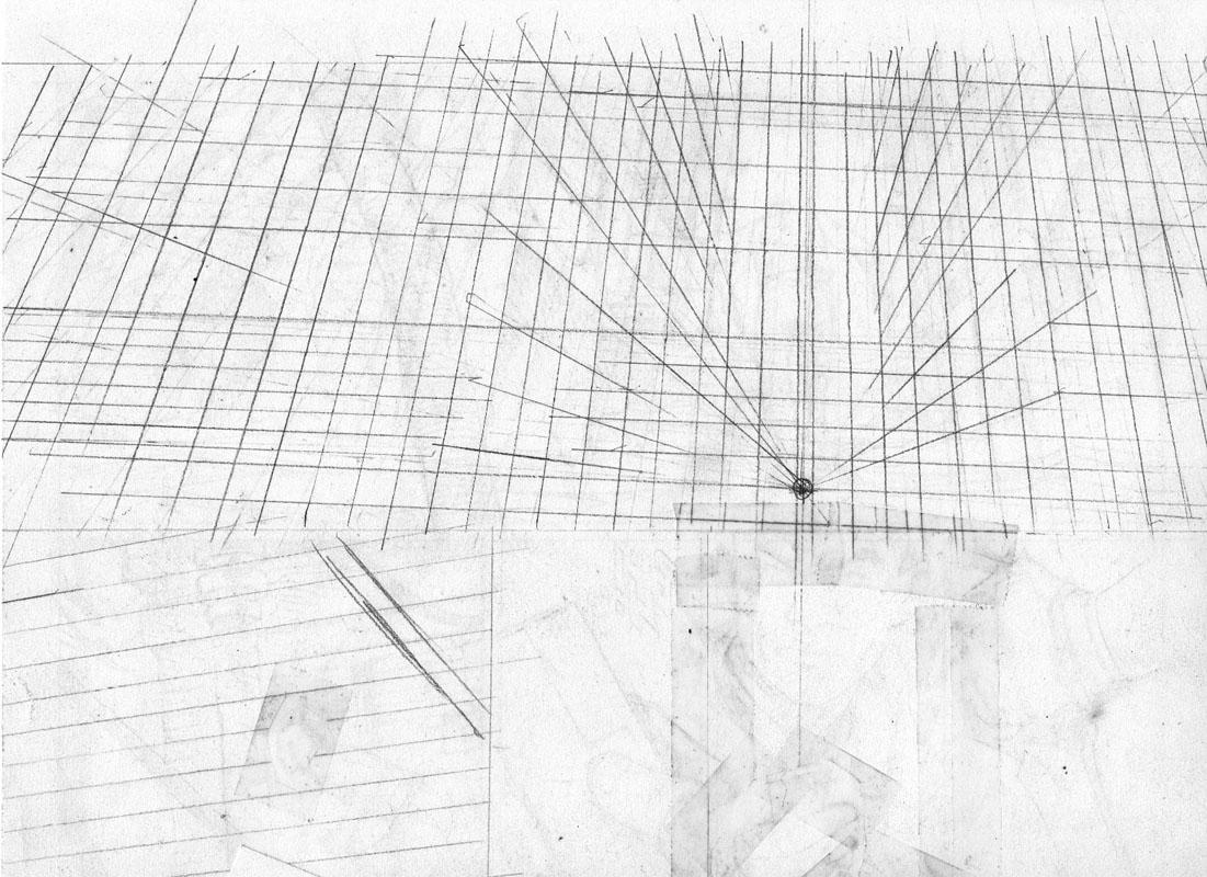 Perspective au verso de la planche 21, servant à la première et quatrième case. Sur table lumineuse, elles deviennent visibles lors du dessin des décors.<br />  © Thierry Labrosse