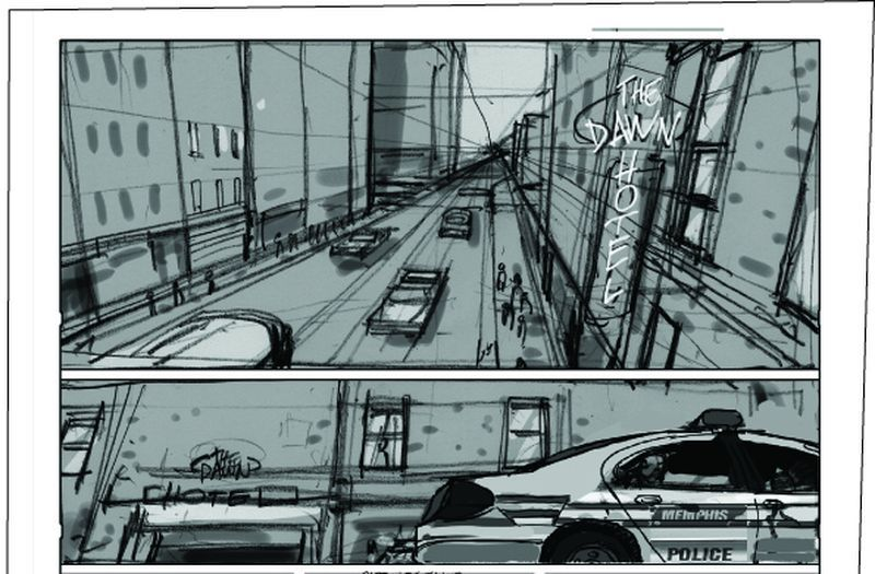 Story Board de la 1ere et 2nd case de la planche 5 ©Laurent Hirn